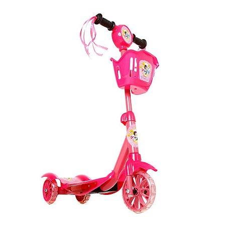 Brinquedo Infantil Patinete Scooter 3 Rodas Com Cesta Luz