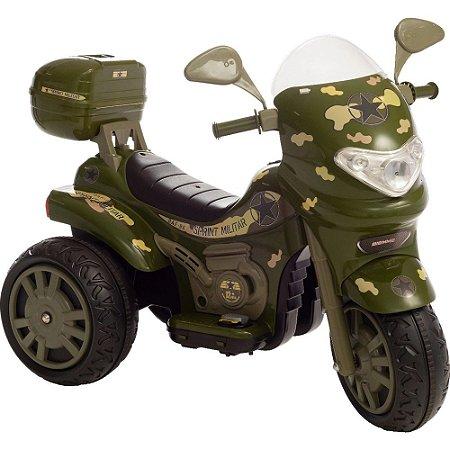 Moto Elétrica Sprint Turbo Camuflado Brinquedo Infantil 12V