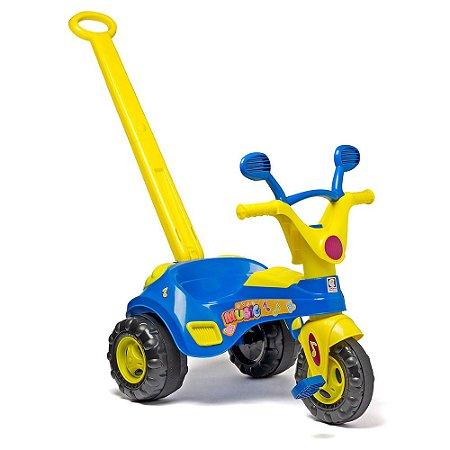 Triciclo Baby Azul E Amarelo Emite Som Cotiplás Music 1832
