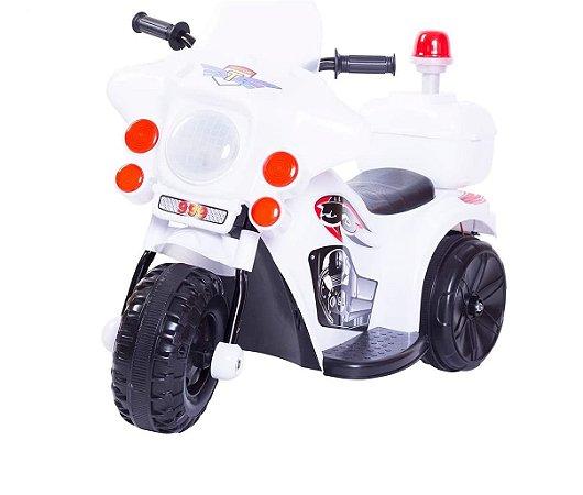 Mini Moto Triciclo Elétrico Infantil Police Branco - Unitoys