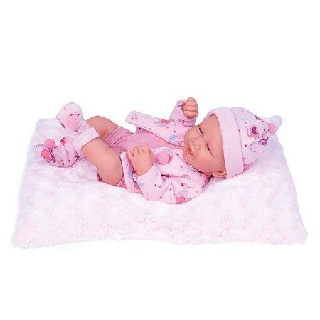 Bebê Reborn Anny Doll Baby Menina Macacão Babador Cotiplás