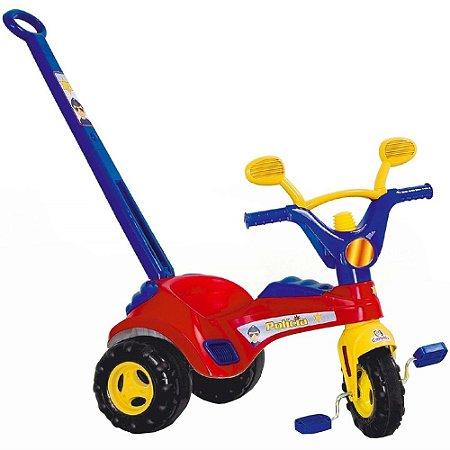 Triciclo Infantil Velotrol Policial Haste e Buzina Cotiplás