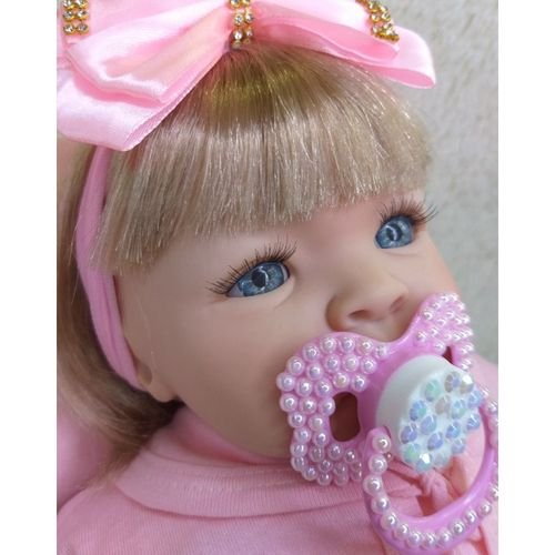 Boneca Tipo Reborn Bebê Realista + Kit Acessórios 13 Itens L