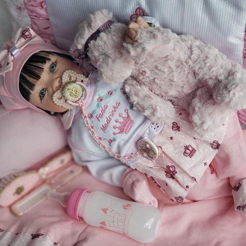 Boneca Bebê Reborn Real Brinquedo Menina Surpresa Rosa