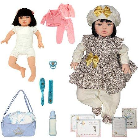 Boneca Bebe Reborn Graziela Marrom Bichinhos Cegonha Reborn