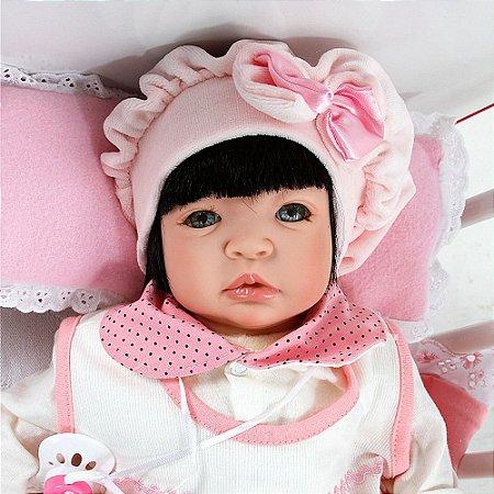 Boneca Bebê Reborn Meu Xodo Princesa Larinha Cabelos Pretos