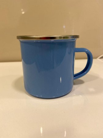 Caneca Esmaltada Azul C/ Borda Prata
