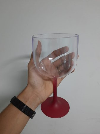 Taça Gin Cristal Base Vermelha