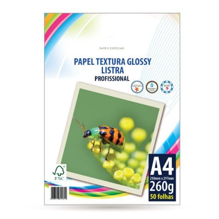 PAPEL FOTOGRÁFICO A4 LISTRA 260G COM 50 FOLHAS
