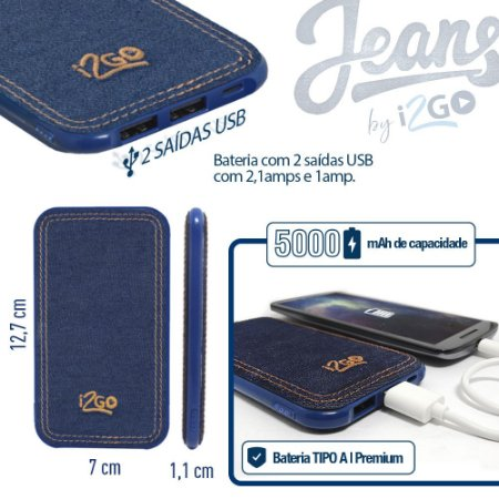 Bateria Portátil I2go Jeans 5.000mAh