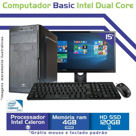 Computador Completo Intel Celeron Dual Core, Mem 4Gb, SSd 120 Gb