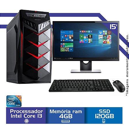Computador Completo Intel i3, Mem 4Gb, hd ssd 120Gb, Tela 15.6