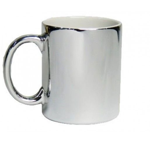 Caneca Porcelana Metalizada Prata
