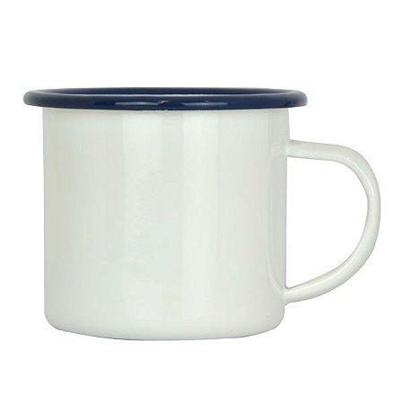 Caneca Esmaltada Branca C/ Borda Azul