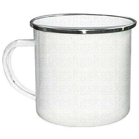 Caneca Esmaltada Branca C/ Borda Prata