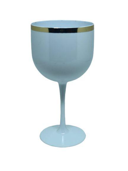 Taça Gin Branca c/ Borda Dourada 580ML