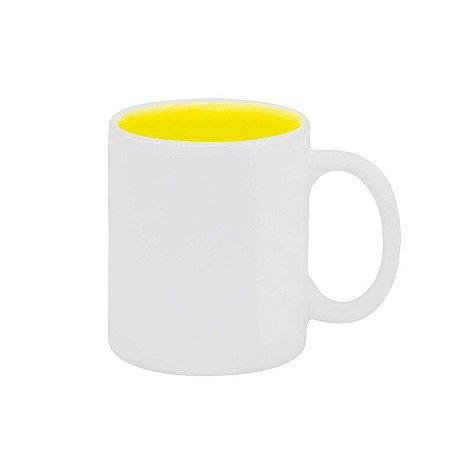 Caneca Branca Interior Amarelo