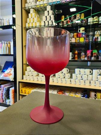 Taça Gin Degradê Cristal com Vermelho