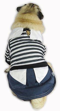 Roupa Para Cachorro Inverno Frio Menino Listrado Fashion