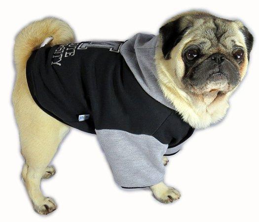 Roupa de Cachorro Inverno Frio Moletom Capuz Universitário