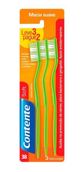 Escova de Dente Vegana Contente Suavetex Macia - Kit Leve 3 Pague 2