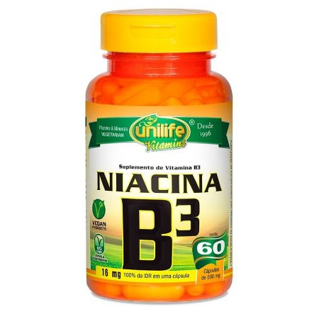 Vitamina B3 Niacina Unilife - 60 Cápsulas