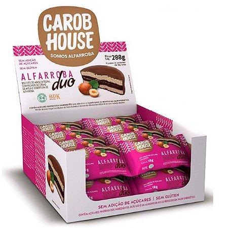 Alfarroba Duo Biscoito de Arroz com Creme de Avelã Carob House 18g - Caixa com 16 unidades