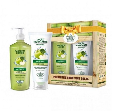 Kit Hidratante e Sabonete Líquido Flores e Vegetais - Maça Verde