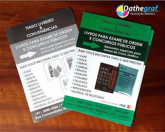 5000 Panfletos - 15x21 - papel couchê 90g - impressão só frente - 4/0