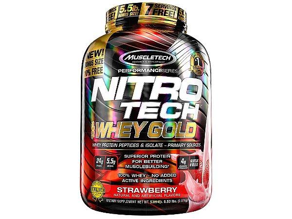 Nitro tech Whey Gold Muscletech 2,51kg Strawberry