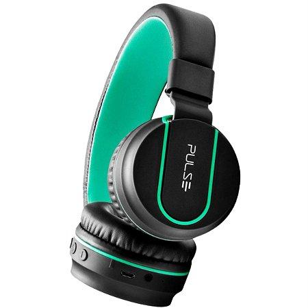 Fone Bluetooth On Ear Stereo Áudio Preto e Verde Pulse - PH215