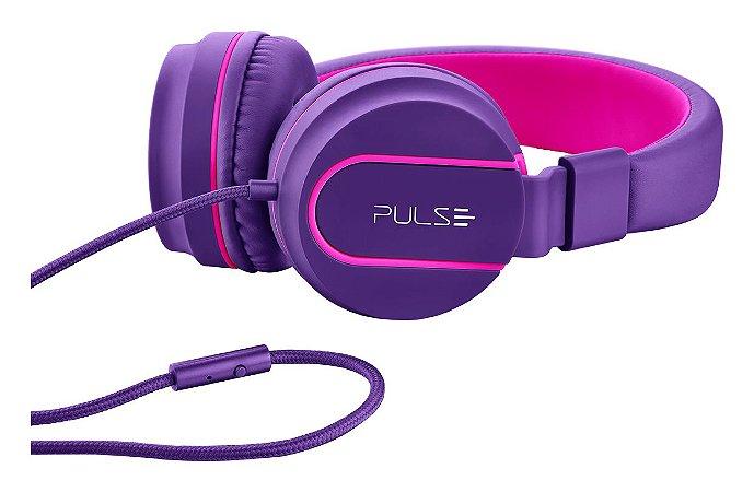 Fone Pulse Over Ear Wired Stereo Áudio Roxo e Rosa - PH161