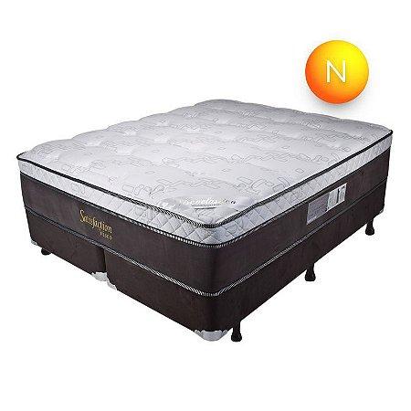 Colchão King Size Satisfaction Visco Mola Ensacada Pillow One Side Luckspuma + Box