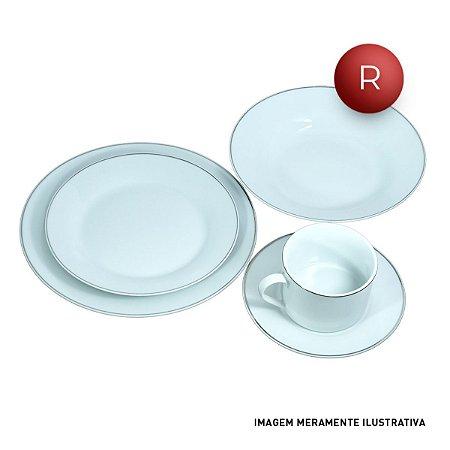 Aparelho de Jantar Filete de Prata 20 Peças Porcelana - Krea