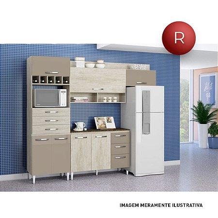 Cozinha Compacta Daniela Aramóveis Nogal Branco Sem Balcão