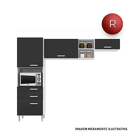 Cozinha Compacta 3 Peças Poquema Natalia Preto Sem Balcão