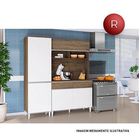 Cozinha Compacta Jade 5 Portas 2 Gavetas Aramóveis TX Essence Brown