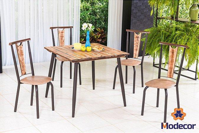 Conjunto Mesa 90cm e 4 Cadeiras M470/C4184 - Café/Demolição - Modecor