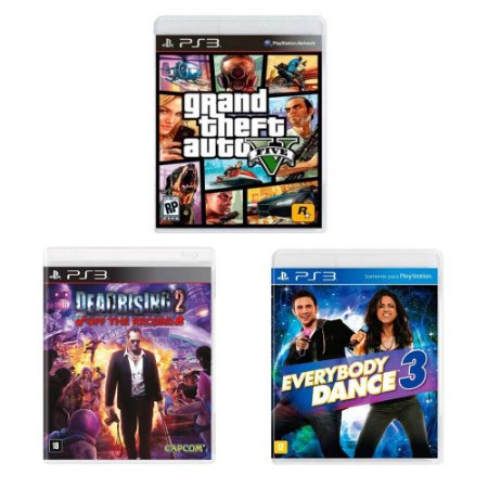 Kit Gamer - GTA V + Dead Rising 2 + Everybody Dance 3 - PS3