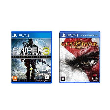 Kit Gamer - Sniper Ghost Warrior 3 + God of War III - PS4