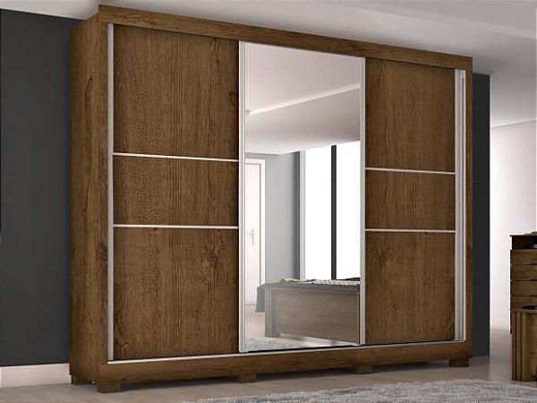 Guarda-roupa Casal 3 Portas de Correr 3 Gavetas - Europa Maranello 11617.1 com Espelho