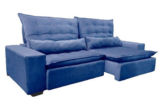 Sofá Búzios Retrátil e Reclinável Azul - Estofar
