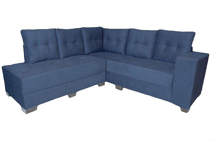 Sofá de Canto Hércules Com Chaise Azul - Estofar