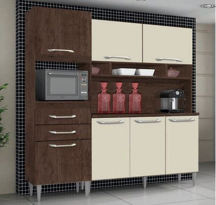 Cozinha Compacta Amanda Plus Ipê / Off White - IMOP