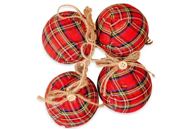 Kit Bola de Natal Xadrez Hang Vermelha com 8 Peças - Etna
