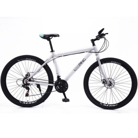 Bicicleta Aro 29 Freio À Disco 21 Marchas Shimano Mountain Bike Aço Carbono Looping - Branca