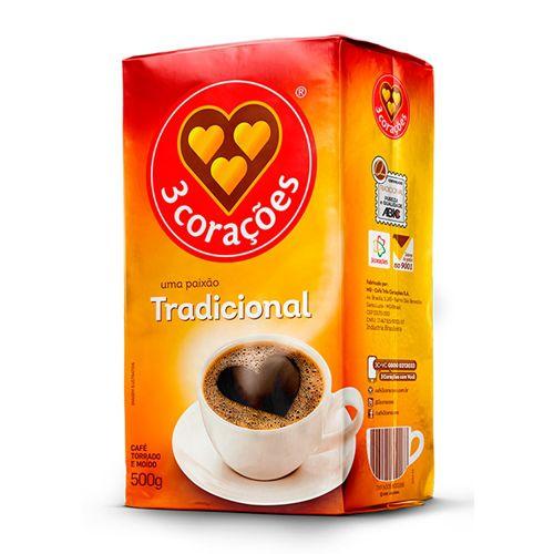 CAFE 3 CORACOES TRADICIONAL VACUO 500GR