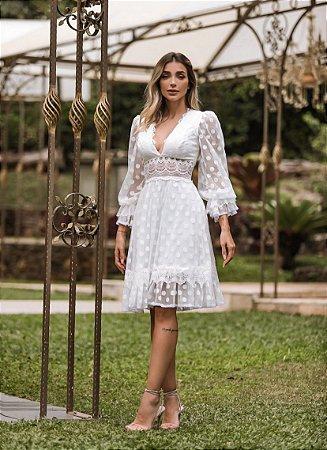 Vestido Estela em Poá com Detalhes em Renda