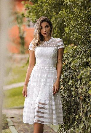 Vestido Isabela Midi em Poá e Listras