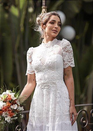 Vestido Elise Longo em Renda Poazinho de Detalhe Costas